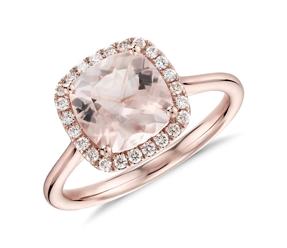 halo gold rose morganite diamond pear save in shape ring