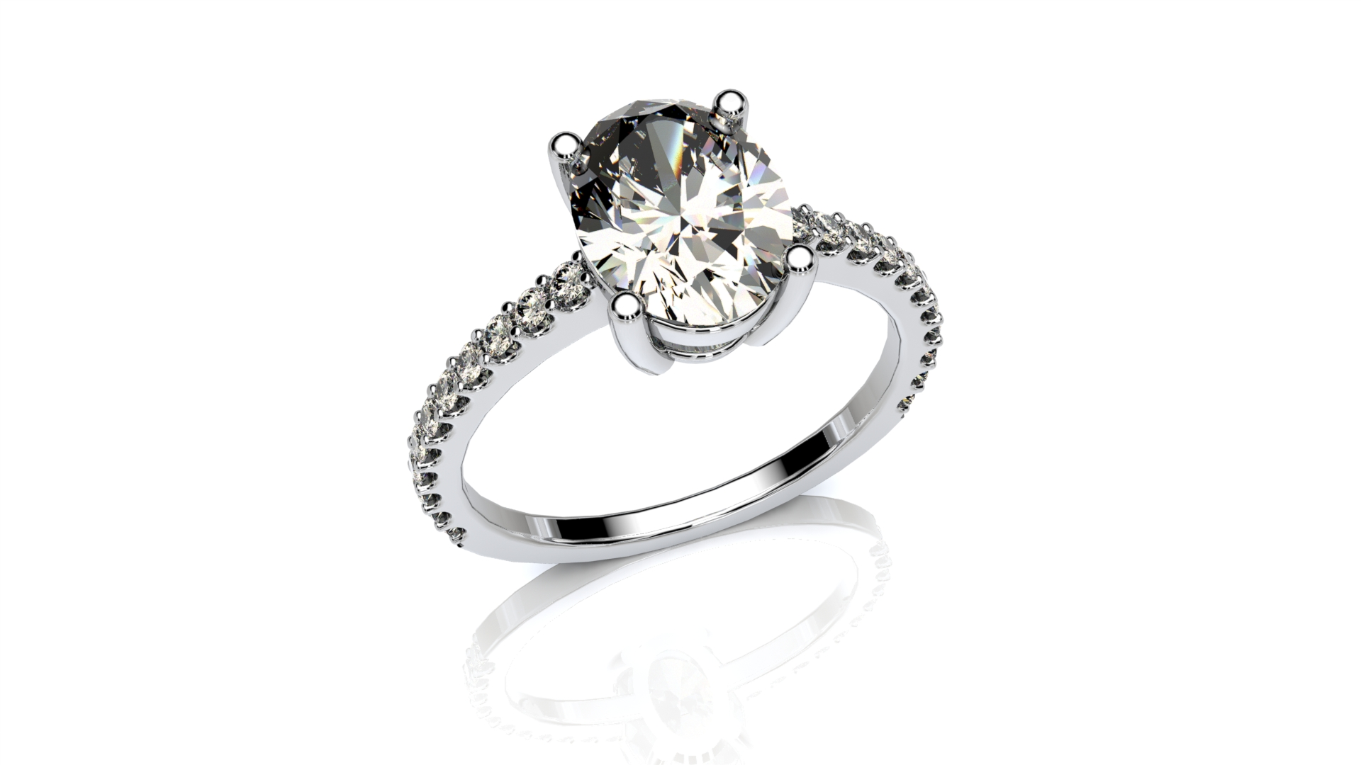Oval gallery engagement ring